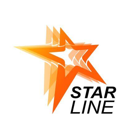 Star line logo template in orange star concept. Vector Illustration Banco de Imagens - 143647190