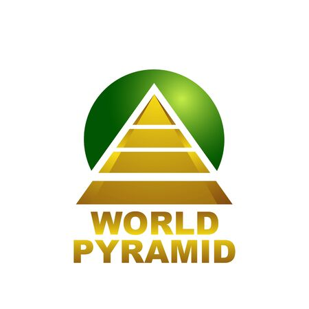 World pyramid logo concept design template idea in gold and circle green color