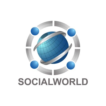 Social world with globe and human character logo concept design template idea Ilustração