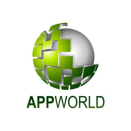 App world shiny digital sphere logo concept design template idea