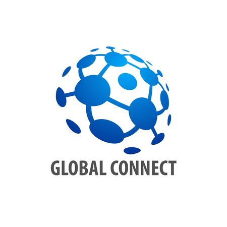 Global connection logo concept design template idea in blue color