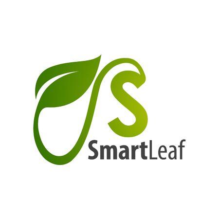 Smart leaf initial letter d logo concept design template idea  イラスト・ベクター素材