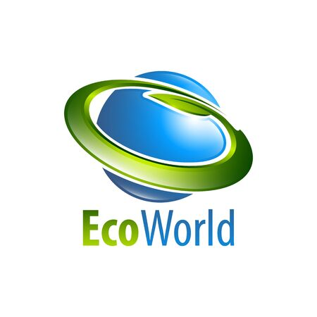 Eco world globe circle leaf logo concept design template idea  イラスト・ベクター素材