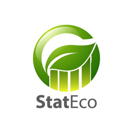Graph circle green leaf logo concept design template idea