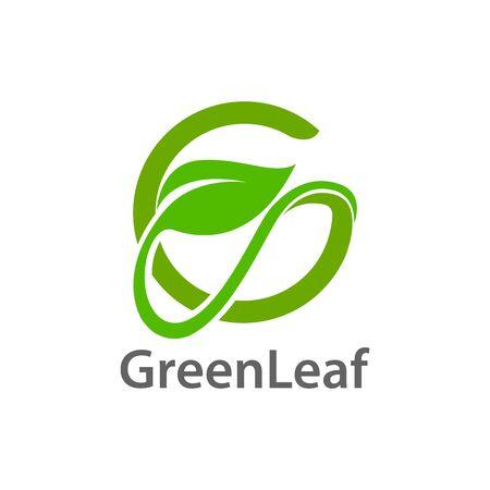 Green leaf initial letter G logo concept design template idea  イラスト・ベクター素材