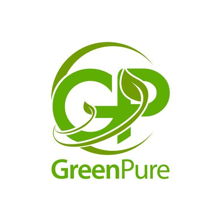 Green pure leaf initial letter GP logo concept design template idea