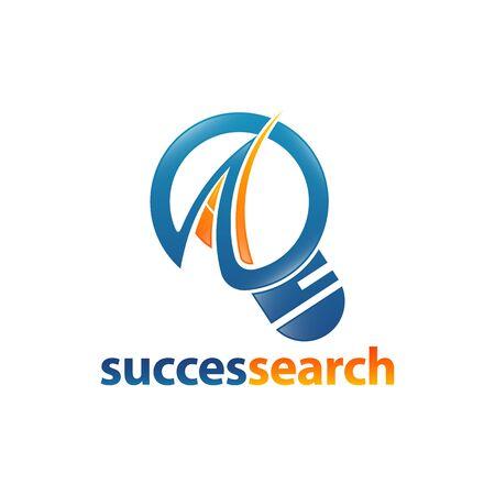 Magnifier icon succes search logo concept design template idea