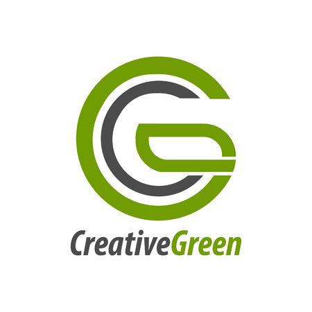 Creative green initial letter CG, GC, C logo concept design template idea Banco de Imagens - 143647290