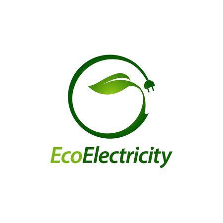 Eco electricity. Green leaf plug electric logo concept design template idea