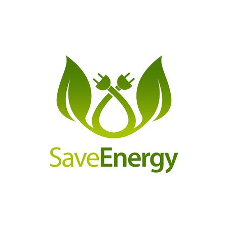 Save energy stem leaves with electric plug icon logo concept design template idea Banco de Imagens - 143647300
