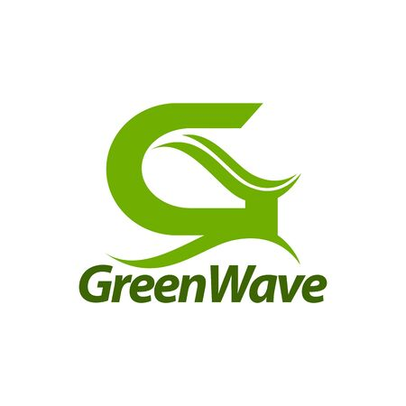 Green Wave. initial letter G logo concept design template idea