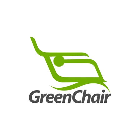 Abstract illustration green chair logo concept design template idea
