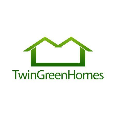 Twin green homes. Real estate house icon logo concept design template idea