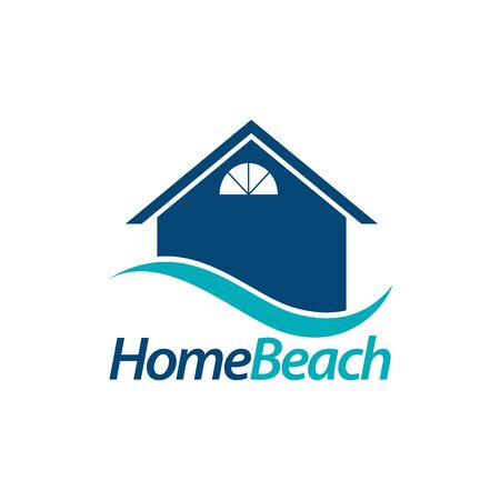 Home beach. house icon with blue wave logo concept design template idea