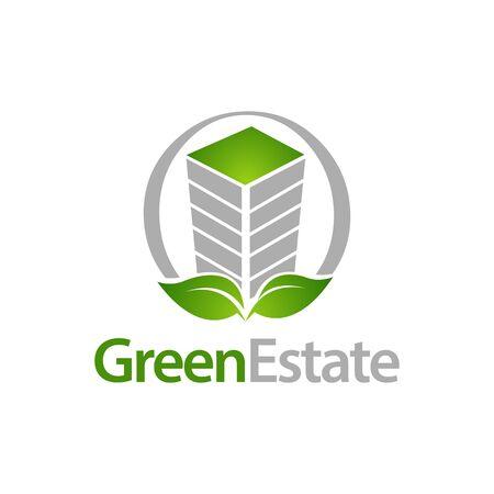Green Estate. Circle building with leaf icon logo concept design template idea  イラスト・ベクター素材