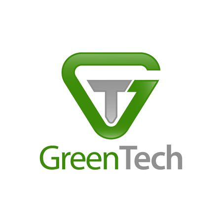 Green Tech. Triangle initial letter GT, TG logo concept design template idea
