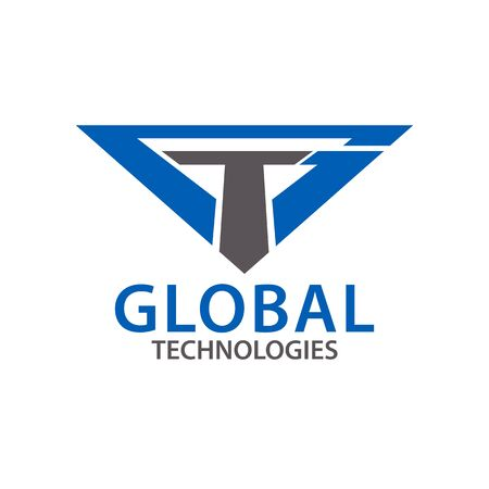 Global techonologies. Initial letter GT, TG logo concept design template idea  イラスト・ベクター素材