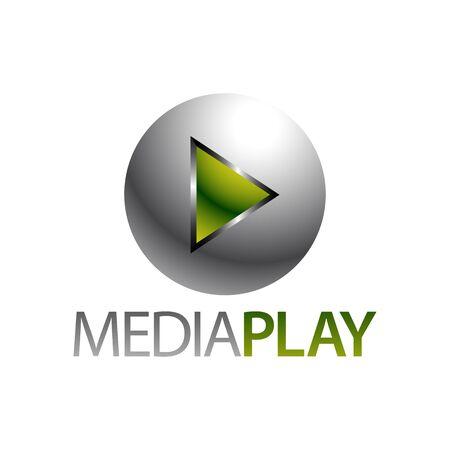 Shiny sphere green media play icon logo concept design template idea