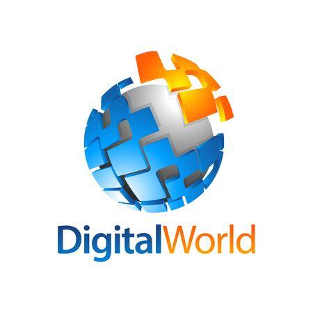Sphere digital world globe logo concept design template idea