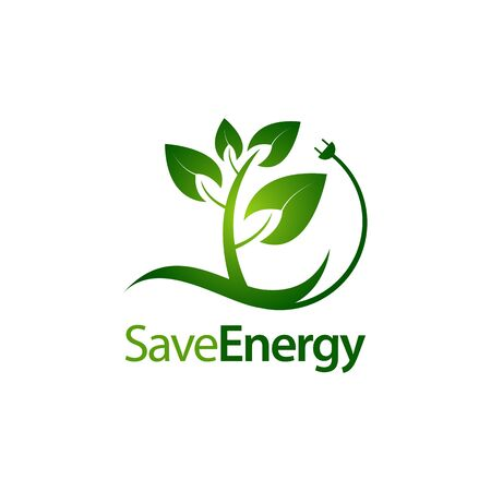 Save energy stem leaves with electric plug icon logo concept design template idea