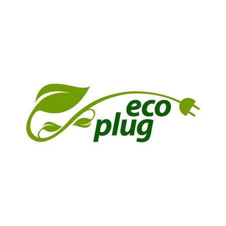 eco plug stem leaves with electric plug icon logo concept design template idea  イラスト・ベクター素材