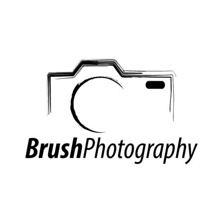 Brush Photography. Abstract illustration camera icon logo concept design template idea Ilustração