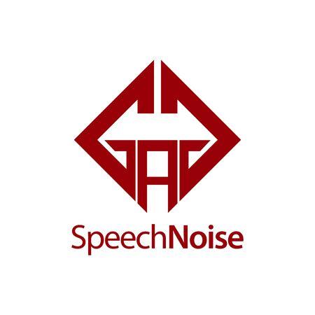 Speech Noise. Initial letter GAG square logo concept design template idea