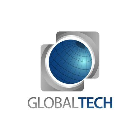 Global Tech. Three dimensional square world globe icon logo concept design template idea