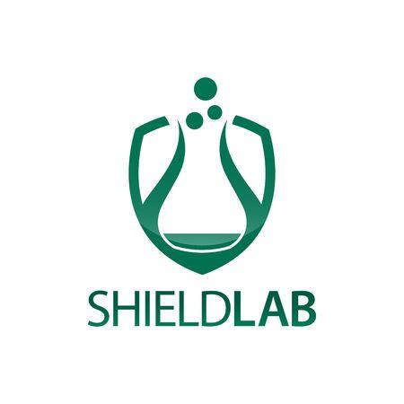 Shield Lab. Shield with laboratory icon flat logo concept design template idea  イラスト・ベクター素材