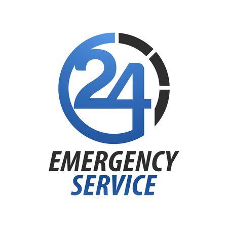 Emergency service Hospital twenty-four. Circle number 24 hour logo concept design template idea