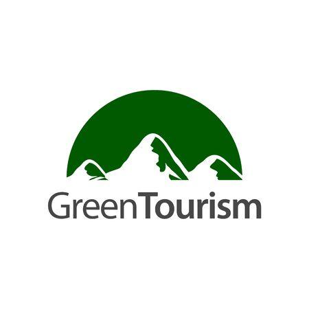 Green Tourism. Half circle mountain icon logo concept design template idea