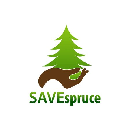 Save Spruce. Illustration hand and spruce icon logo concept design template idea Banco de Imagens - 143647495