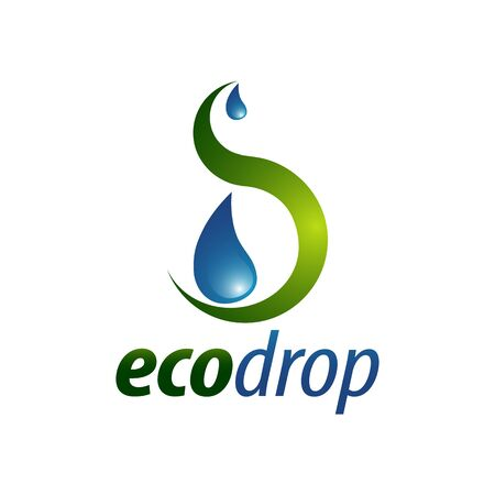 Eco Drop. Abstract illustration water drop logo concept design template idea