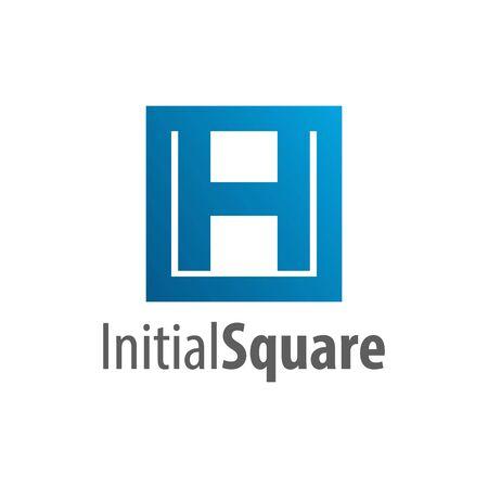 Square initial letter H logo concept design. Symbol graphic template element vector  イラスト・ベクター素材