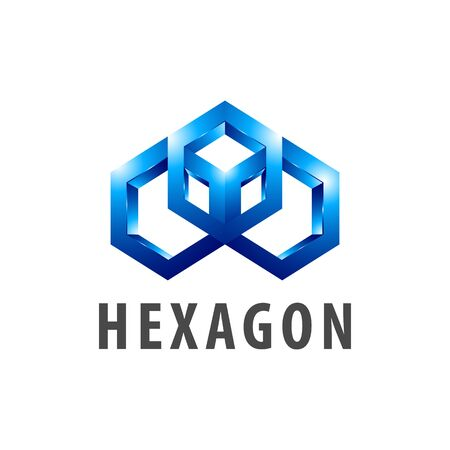 Hexagon three dimensional style logo concept design. Symbol graphic template element vector