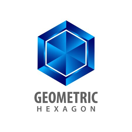 Geometric hexagon three dimensional style logo concept design. Symbol graphic template element vector