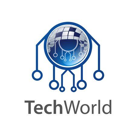 Technology world logo concept design. Symbol graphic template element vector  イラスト・ベクター素材