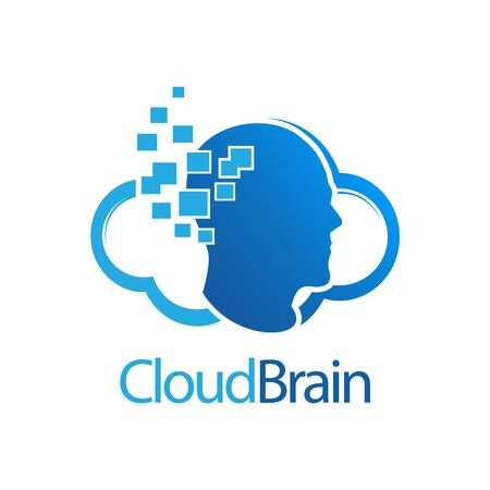 Cloud Brain digital human logo concept design. Symbol graphic template element vector