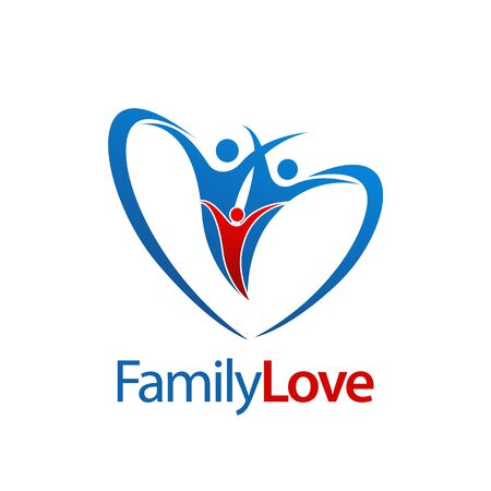 Three human Family love logo concept design. Symbol graphic template element vector