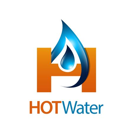 Hot water drop initial letter H logo concept design. Symbol graphic template element vector
