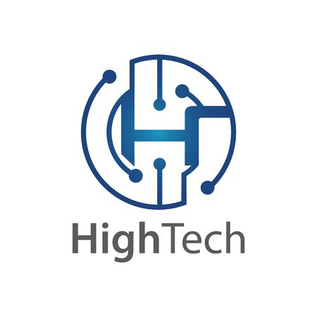 Circle technology initial letter H logo concept design. Symbol graphic template element vector  イラスト・ベクター素材