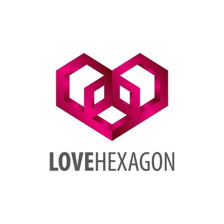 Love hexagon logo concept design. Symbol graphic template element vector