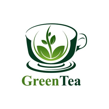 Green tea cup logo concept design. Symbol graphic template element vector Banco de Imagens - 143647642
