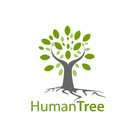 Human tree logo concept design. Symbol graphic template element vector