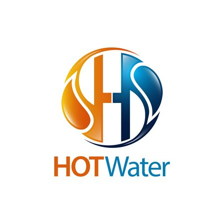 Circle hot water drop initial letter H logo concept design. Symbol graphic template element vector  イラスト・ベクター素材