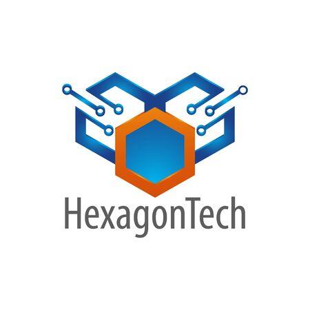 Hexagon technology logo concept design. Symbol graphic template element vector