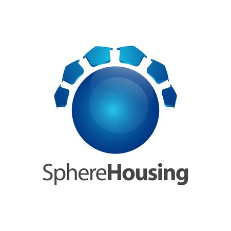 Sphere housing logo concept design. Symbol graphic template element vector