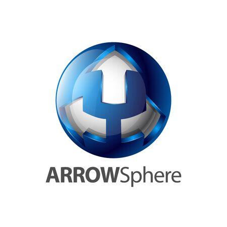 Three arrow sphere logo concept design. Symbol graphic template element vector  イラスト・ベクター素材