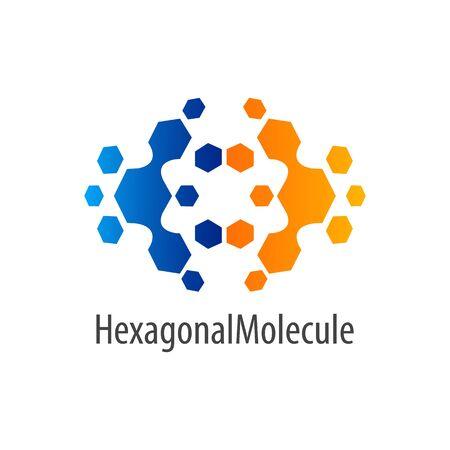 Hexagonal molecule flip logo concept design. Symbol graphic template element vector  イラスト・ベクター素材