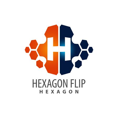 Hexagon flip initial letter H logo concept design. Symbol graphic template element vector  イラスト・ベクター素材